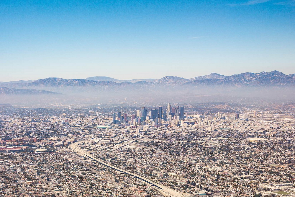 City of Los Angeles California Aerial View from Airplane
