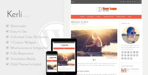 Kerli - Personal Minimalist WordPress Blog Theme