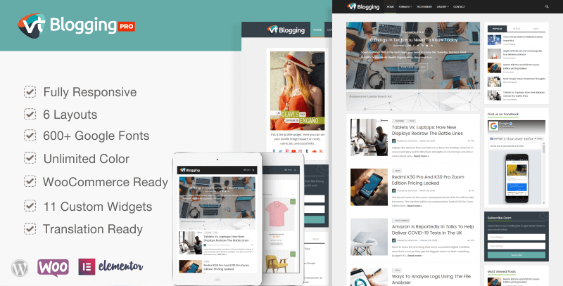 VT Blogging Pro - Premium Responsive WordPress Theme