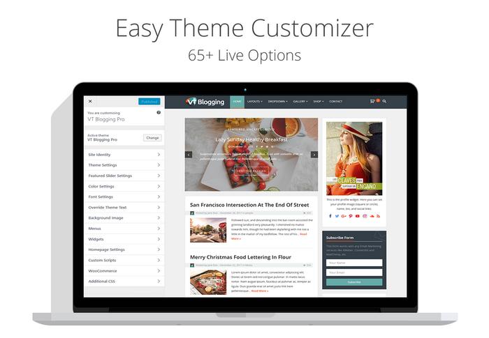 VT Blogging Pro Customizer Settings