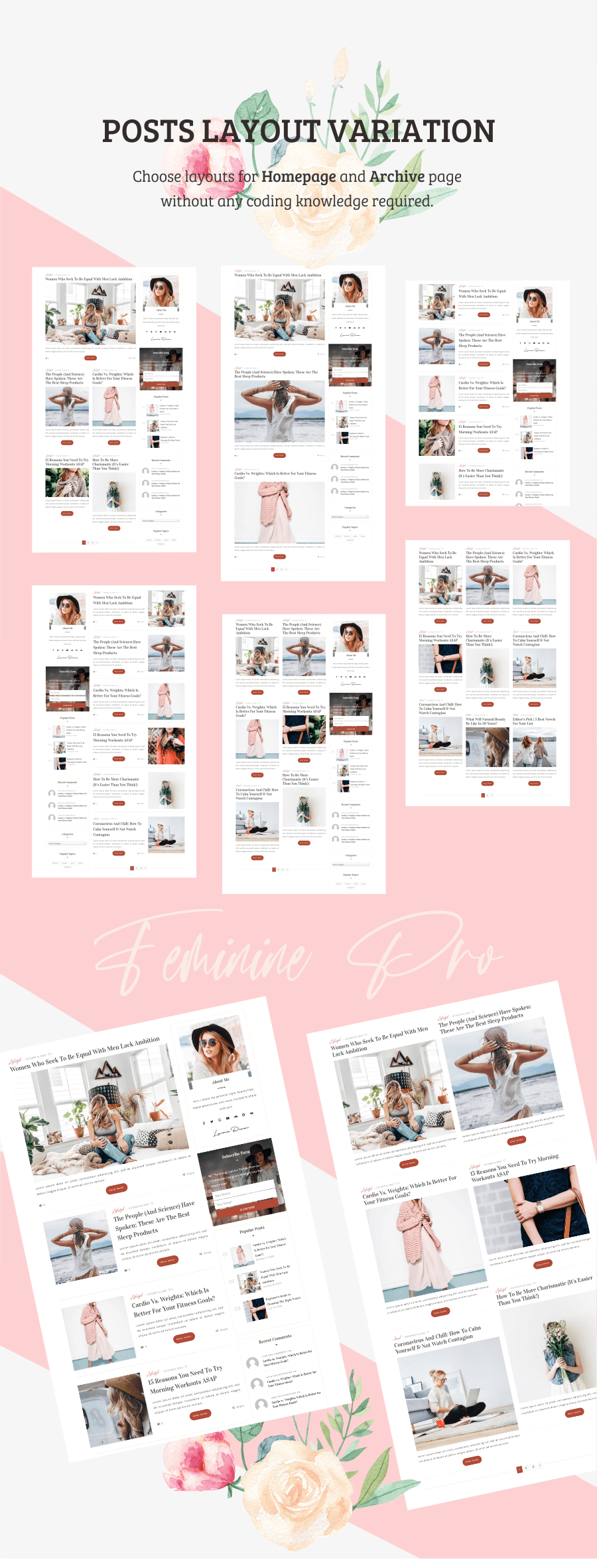 Feminine WordPress Theme Layouts